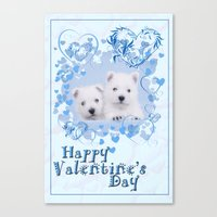 westie Canvas Prints featuring Westie Valentine by petsArt