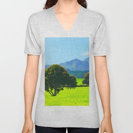 green tree in the green field with green mountain and blue sky background Unisex V-Neck