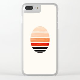 Burnt Sienna Mid Century Modern Minimalist Circle Round Photo Staggered Sunset Geometric Stripe Desi Clear iPhone Case