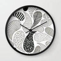 paisley Wall Clocks featuring Paisley by Anita Ivancenko