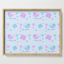 Chickadee Bird Butterfly Floral Purple Lavender Blue Serving Tray