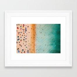 People On Algarve Beach In Portugal, Drone Photography, Aerial Photo, Ocean Wall Art Print Framed Art Print