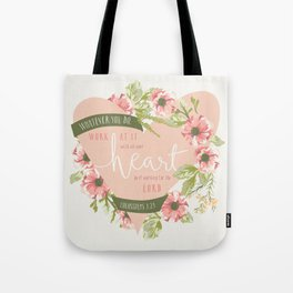 """""""All Your Heart"""" Floral Bible Verse Print Tote Bag"""
