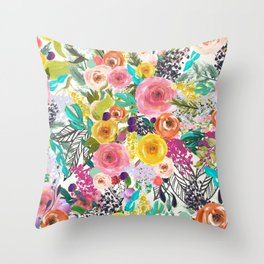 Vibrant Autumn Floral with Turquoise Throw Pillow