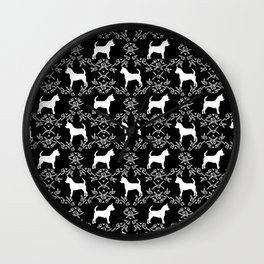 Chihuahua silhouette black and white florals flower pattern art pattern dog breed Wall Clock