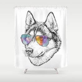 Husky Dog Graphic Art Print. Husky in glasses Shower Curtain