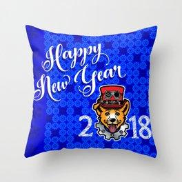 Happy New Year 2018 Yellow Dog Throw Pillow
