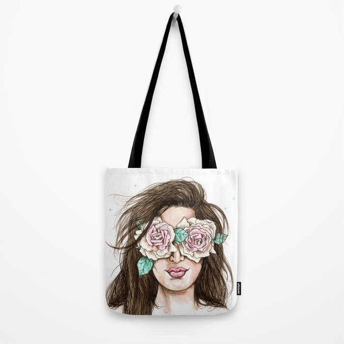 white roses in their eyes (female version) Tote Bag