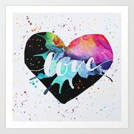 Rainbow Heart Love Watercolor Splash Art Print