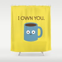 evil Shower Curtains featuring Coffee Talk by David Olenick