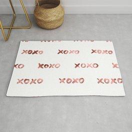 XOXO Fashion Love Rose Gold Pattern Rug