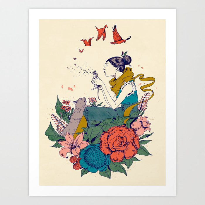 woman and flowers Art Print