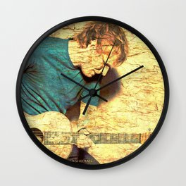 Guitar player on stone Wall Clock