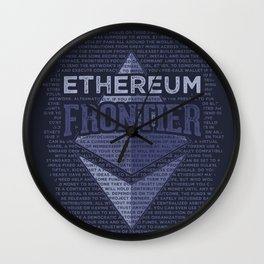 Ethereum Frontier Grunge original on dark blue Wall Clock