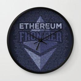 Ethereum Frontier Grunge original on dark blue Wall Clock