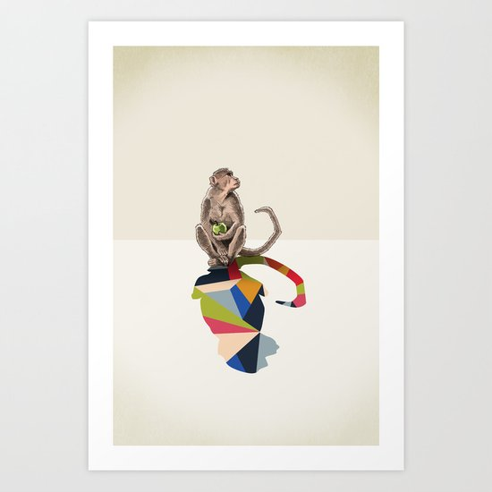 Walking Shadow, Monkey Art Print