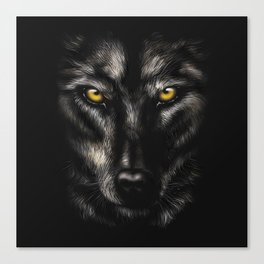 hand-drawing portrait of a black wolf on a black background Canvas Print