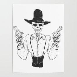 Gangster skull - grim  reaper cartoon - black and white Poster