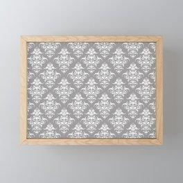 Damask Pattern | Grey and White Framed Mini Art Print