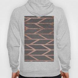 Rose gold chevron stripes geometric pattern on grey cement concrete Hoody