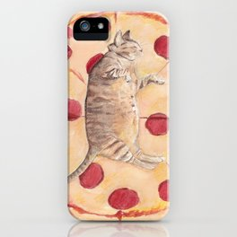 Pizza Cat Illustration iPhone Case