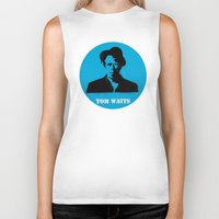 tom waits Biker Tanks featuring Tom Waits Record Painting by All Surfaces Design