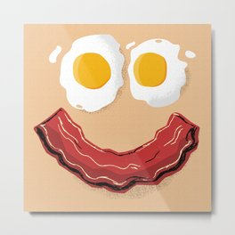 Bacon and Eggs Breakfast Smile Metal Print