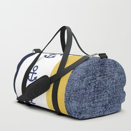 Navy and Gold Striped Anchor Print Duffle Bag
