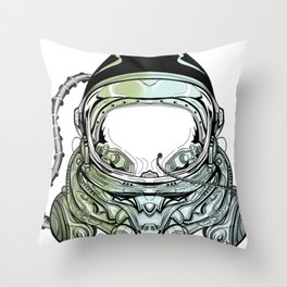 Cyberpunk cosmonaut floating in space Throw Pillow