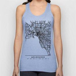MELBOURNE AUSTRALIA BLACK CITY STREET MAP ART Unisex Tank Top