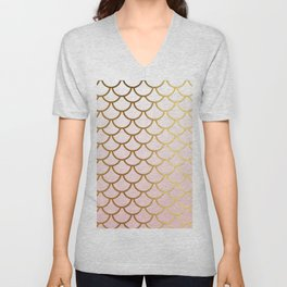 Pink Gradient And Gold Foil MermaidScales - Mermaid Scales Unisex V-Neck