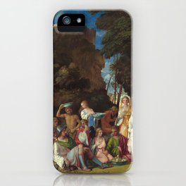 The Feast of the Gods Painting by Giovanni Bellini and Titian iPhone Case