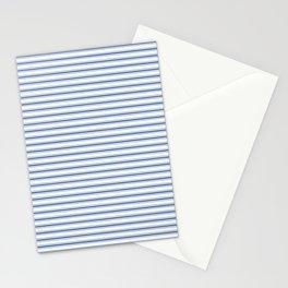 Mattress Ticking Narrow Horizontal Stripe in Dark Blue and White Stationery Cards