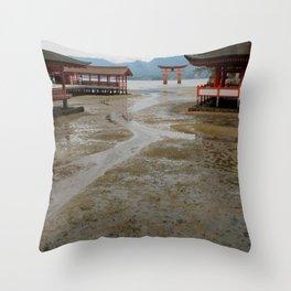 itsukushima shrine and torii gate Throw Pillow