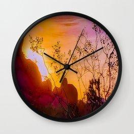 Joshua Tree Curtain of Shrubbery Wall Clock