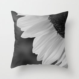 Black and White Sunflower Photography Print Throw Pillow