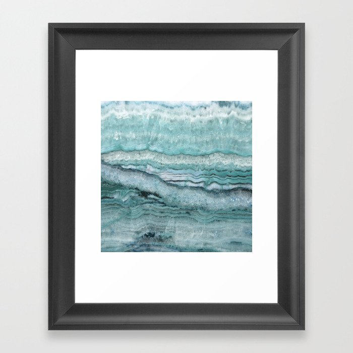 Mystic Stone Aqua Teal Gerahmter Kunstdruck