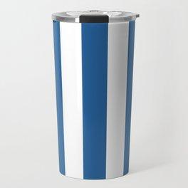 Lapis lazuli blue - solid color - white vertical lines pattern Travel Mug