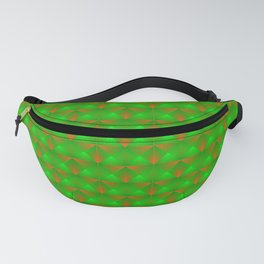 Chaotic pattern of green squares and orange pyramids. Fanny Pack
