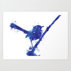 Fairy Wren Watercolour Splash Art Print