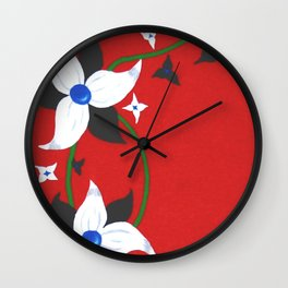One of Two: Flower Duo Left Wall Clock