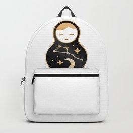 Russian doll matrioshka Babushka smiling Kawaii cute face, Stars, moon, constellation Ursa Major Backpack