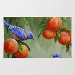 Bluebirds and Peaches Rug