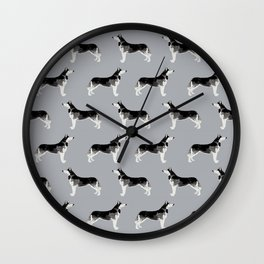 Siberian Husky pet portrait dog lover gift perfect for husky owner pet friendly portraits Wall Clock