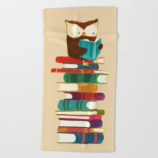 Owl Reading Rainbow Beach Towel