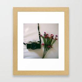 Camera and Flowers Framed Art Print