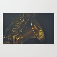 saxophone Area & Throw Rugs featuring Paula's Saxophone by Natasha Crosby