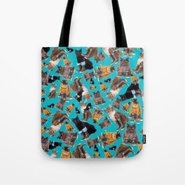 Tough Cats on Aqua Tote Bag