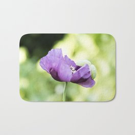 Hungarian Blue Bread Seed Poppy In Bloom Bath Mat