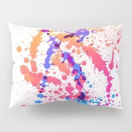 Energetic Expressive Multicolor Paint Splatter Pillow Sham